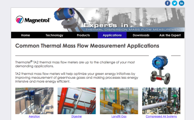 Common Thermal Mass Flow Measurement Applications