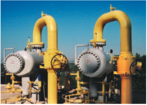Natural gas separators in the field.
