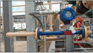 Magnetrol® Thermatel® TA2 with flow body (spool piece) measuring natural gas.